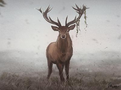 Wild Deer landscape photoshop illustrator nature mood wild animal horns wildife deer digital art painting artwork illustration
