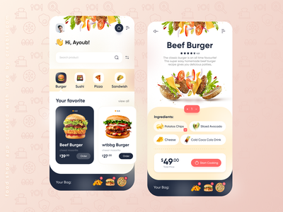fooj - Food Delivery App creabik creabik design creabik app ui design app ui delivery app burger burgers food and drink food design food app food delivery food