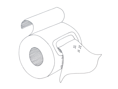 Wet Wipes on a roll - cartoon illustration