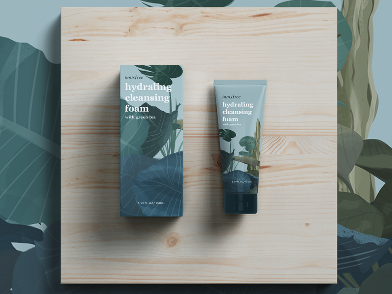 Innisfree Mock Package Design procreate app nature plants innisfree package mockup package design visual identity design illustration skincare