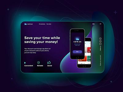 Card Us screen landing page concept promo page preview ios main card app design minimal logo web website ui