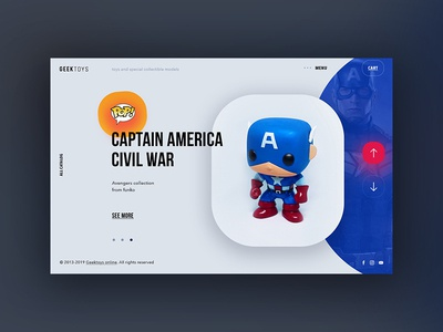 Geektoys simple page store blue online ui design website minimal web shop concept main page page design toys geek logo captain america pop funko