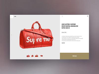 product page product page page store ux shop design minimal web website ui online bag supreme louis vuitton louisvuitton