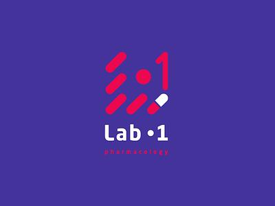 Lab-1  Pharmacy company logo red pharmacy lab ux branding vector illustration minimal logo
