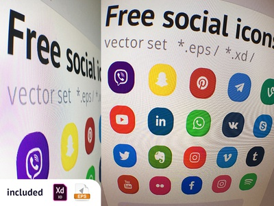 Free Set Social Icons link eps adobe xd download facebook youtube telegram viber free freebie icons pack icons set snapchat social media illustration logo web vector ui