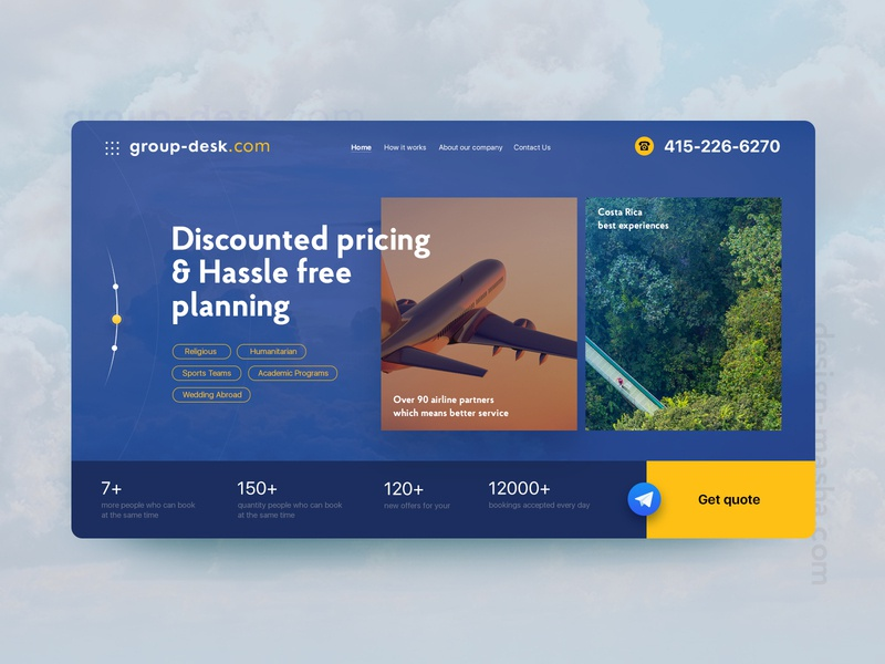 Group Desk uiux main page hassle groupdesk plane avia web website ui
