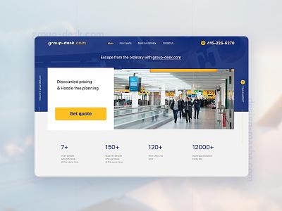 Group Desk 3 service groupdesk airline design web online ui website minimal