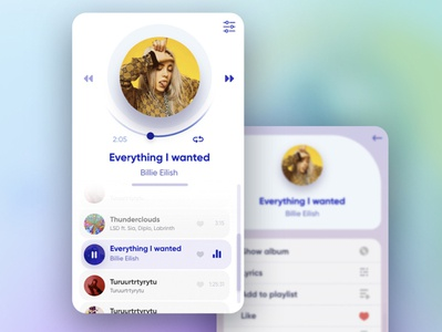 Simple UI player minimal example billie eilish design uiux music player music app app ui player