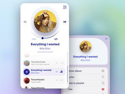 Simple UI player minimal example billie eilish design uiux music player music app app ui player