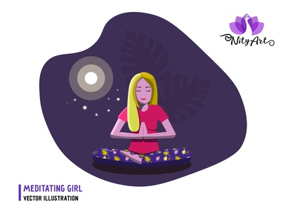 Meditating girl sitting in a yoga pose under the moon beautiful blonde vector girl yoga pose meditate sitting pose meditating yoga meditation girl flat design flat art cute design colorful vector illustrator nityart-design illustration