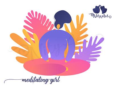 Meditating girl meditation app yoga icon meditating relax peaceful calm yoga pose yoga meditation girl flat art colorful vector nityart-design illustration
