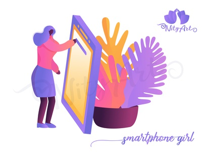 Smartphone Girl female woman afro american people abstract modern futuristic cellphone smartphone technology gradient art girl flat design illustrator flat art colorful vector nityart-design illustration