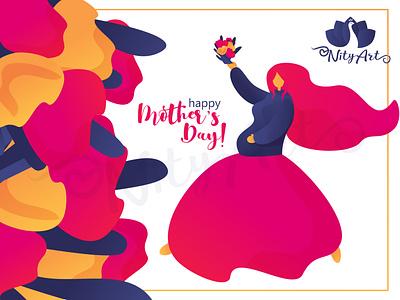Happy Mother's Day! mother vector design gradient girl illustrator flat art colorful nityart-design illustration