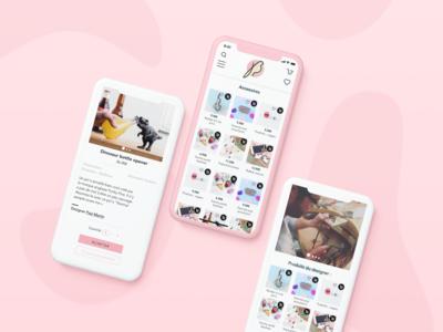 Mobile e-shop pink concept store bird app mobile e-shop