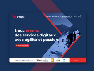 Soluti agency - website lyon ui design ux design homepage agency landing page agency branding agency website website soluti