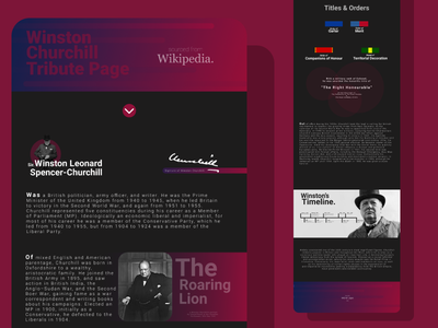 Winston Churchill Tribute Page web design ui figma