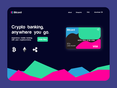 Landing page: Bitcard branding illustration illustrator figma ux ui web design