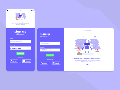 Sign up concept design. adobe xd form design form ui web design