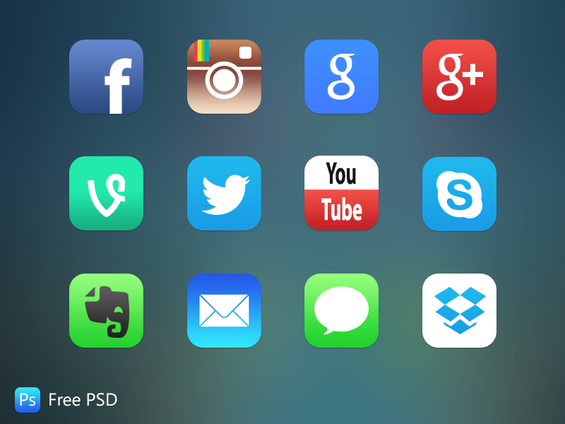 iOS 7 App Icons app icons store facebook psd vine youtube 7 free twitter redesign ios apps