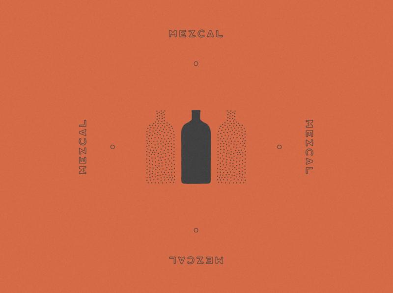 Mezcal Bottle Design & Illustration color pallete black red stippling bottle alcohol spirits tequila mezcal minimal mexican mexico jamescoffman logo lockup illustration font design branding