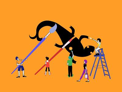 AMDI illustrators colour palette team website banner illustration illustrators working