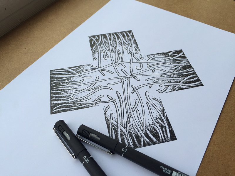 X2 fineliner black white drawing x