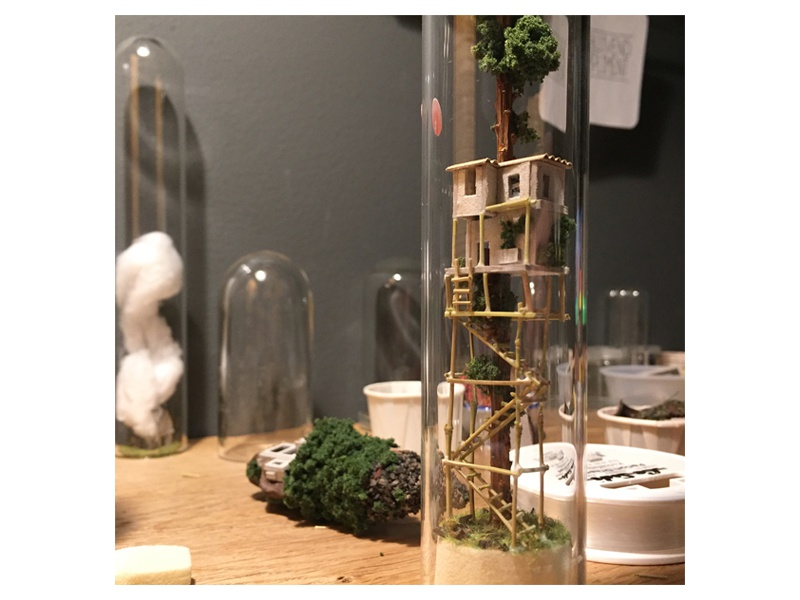 Staircase treehouse handmade bamboo staircase miniature micro matter