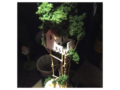 Close up handmade miniature tree treehouse micro matter