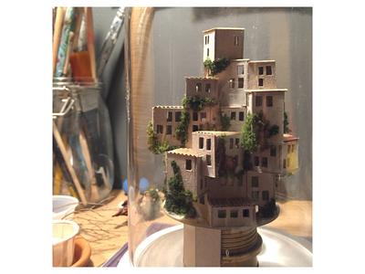 Night Light diorama miniature favela house cardboard handmade night light