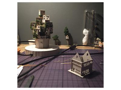 Work in progress cardboard diorama miniature handmade work in progress night light lights micro matter