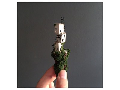 Nr 3 out of 5 handmade nature green powerlines houses diorama exhibition sbk miniature micro matter