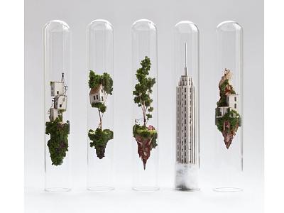 . tree camping skyscraper power lines handmade tiny small house diorama miniature micro matter