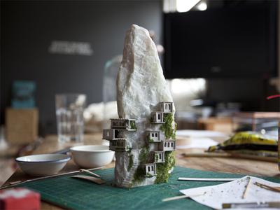 Work in progress mountain village micro matter miniature soapstone