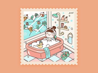 Winter bath illustration