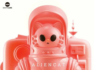 AlienCat alien astronaut cat c4dart c4d 3d toy design toy space design branding color