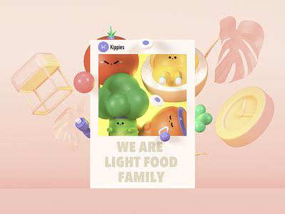 LightfoodFamily lightfood toy design toy design 3d c4datr c4d color