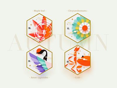 AUTUMN Badges badge autumn vector branding design illustrator icon illustration color