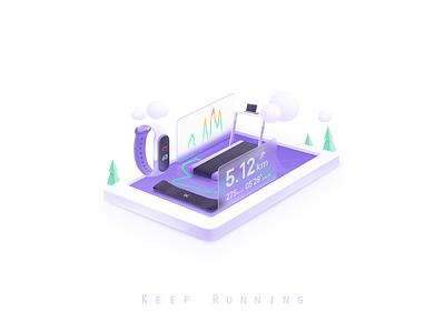 Keep Runing ui keeper keep running fitness branding design illustrator color illustration