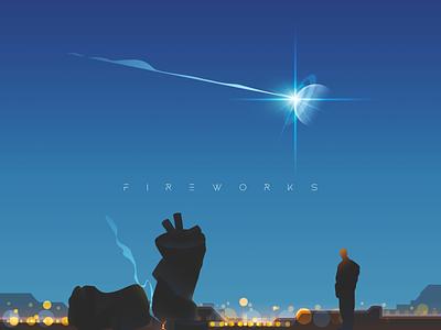 Fireworks lonely fireworks space blue design sky illustrator color illustration