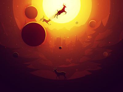 The Golden Dream christmas eve deer gold planet yellow illustrator illustrations