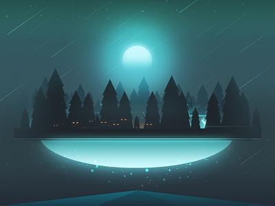 Sky World – Mist Forest city sky space illustration color forest mist