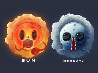 Planet Monster univers monster mercury sun planet color illustrator