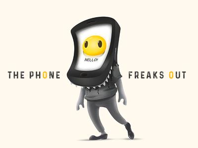 The Phone Freaks Out dark black illustrator monster freak phone