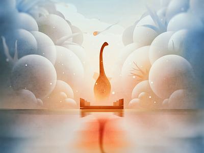 The Brachiosaurus last goodbye dinosaur color illustrator