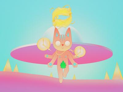 Milien design ufo cat illustration alien color