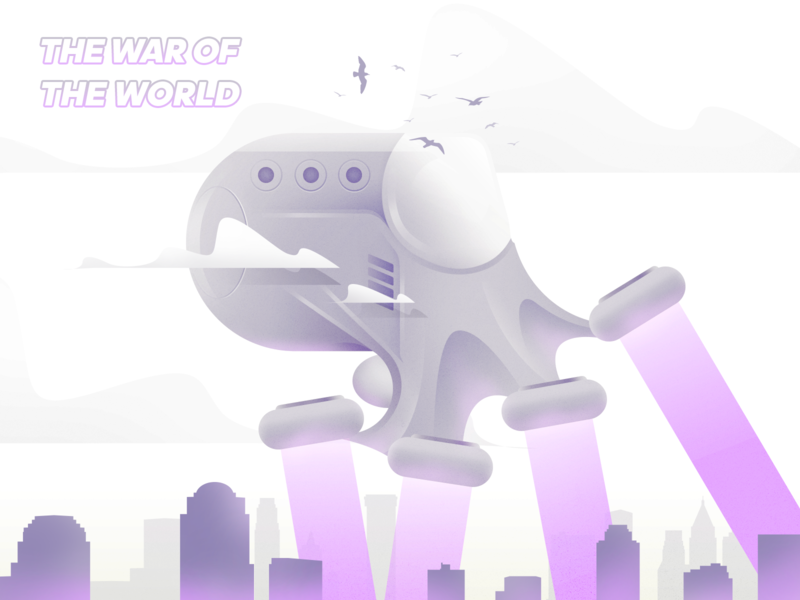 The war of the world illustrator movie vector design sky space illustration color