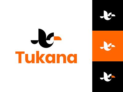 Tukana Logo fly logo animal logo fly bird bird logo simple logo negative space logo white black logo orange toucan geometric logo logo inspiration brand logo design shape indonesia surabaya epjm logo
