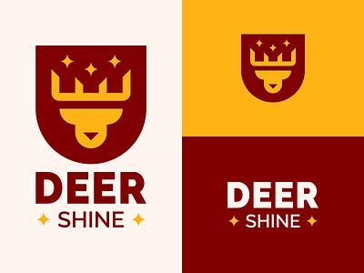 Deer Shine blink white yellow red geometric shine badge logo animals deer head deer design student work inspiration logo design branding logo epjm surabaya shape indonesia