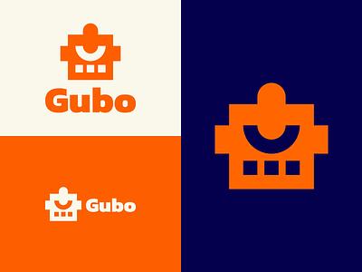 Gubo white head eye simple geometric lazy blue orange bot robot inspiration logo design logo epjm surabaya indonesia