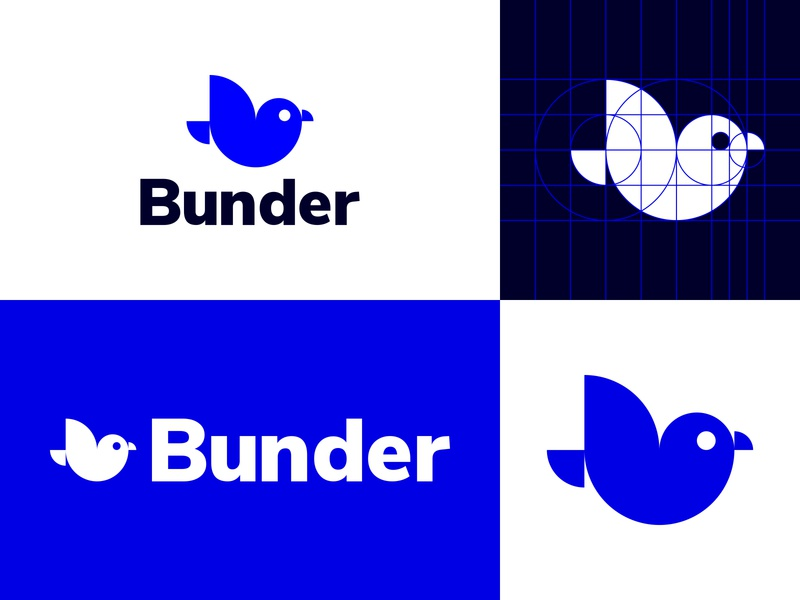 Bunder animal logo circle modern simple bird flying fly geometric blue animal bird logo white inspiration branding logo design logo epjm surabaya indonesia